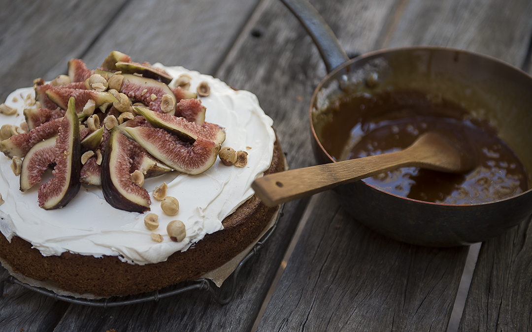 Hazelnut Olive Oil and Fig Cake with Salted Caramel Sauce